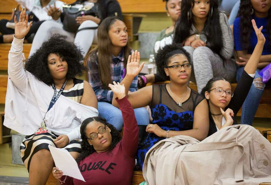 Westfield High School students (left to right) Jade LeBlanc, 16, Autumn Henry, 18, Maddison Joyce, 16, and Jada Phillips, 17, participate on the Female Empowerment Symposium at their schools gym, Thursday, March 9, 2017, in Spring. The event is part of a series of similar student-led events being held throughout the Houston area during Women's History Month which educates young women about personal image, dating and health. Photo: Marie D. De Jesus, Houston Chronicle / © 2017 Houston Chronicle