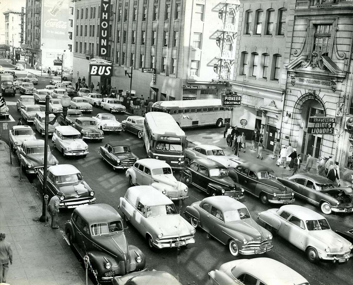 Traffic in downtown San Francisco. May 25, 1954