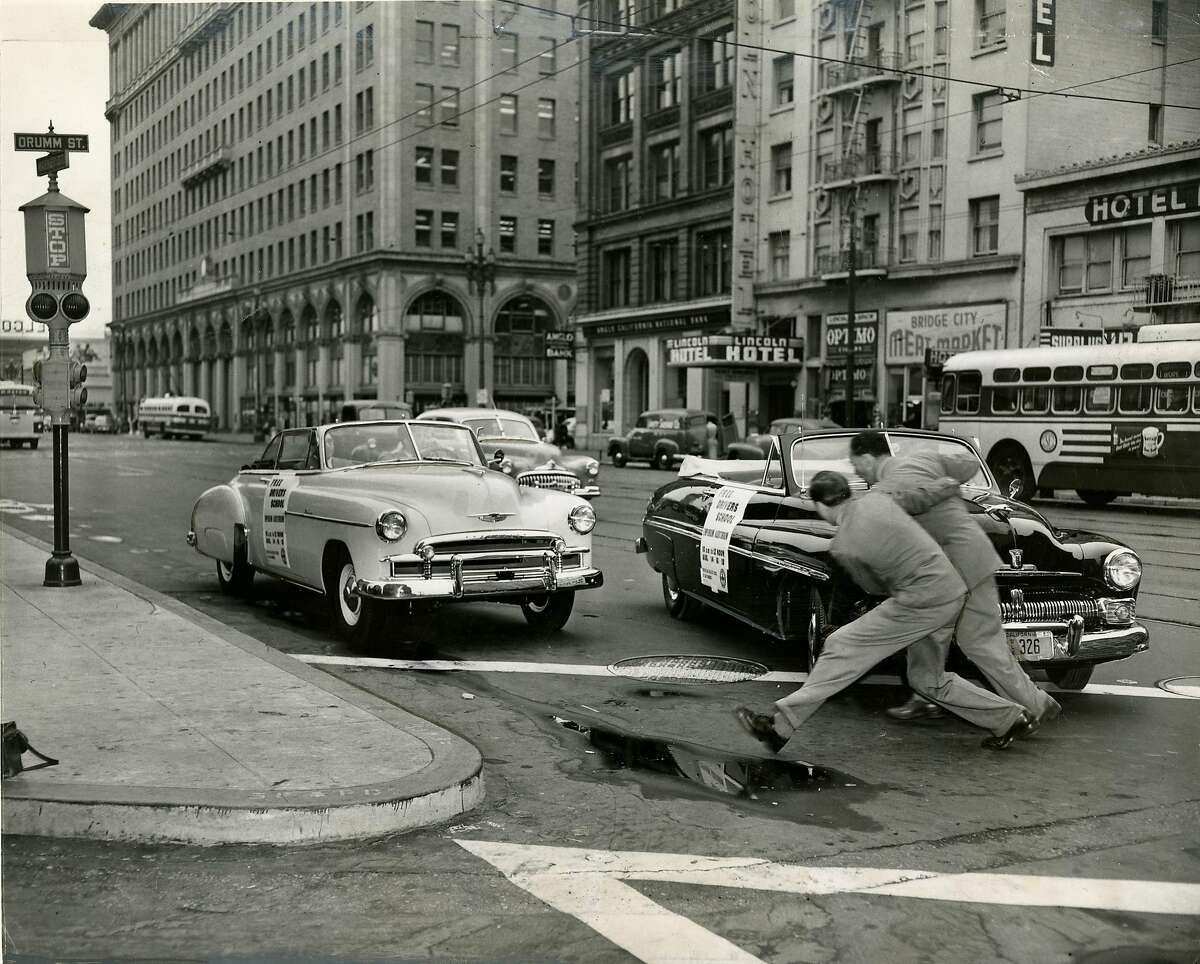 A safety driving test was performed in San Francisco, on Market Street at Drumm Street. The light car was driven by the