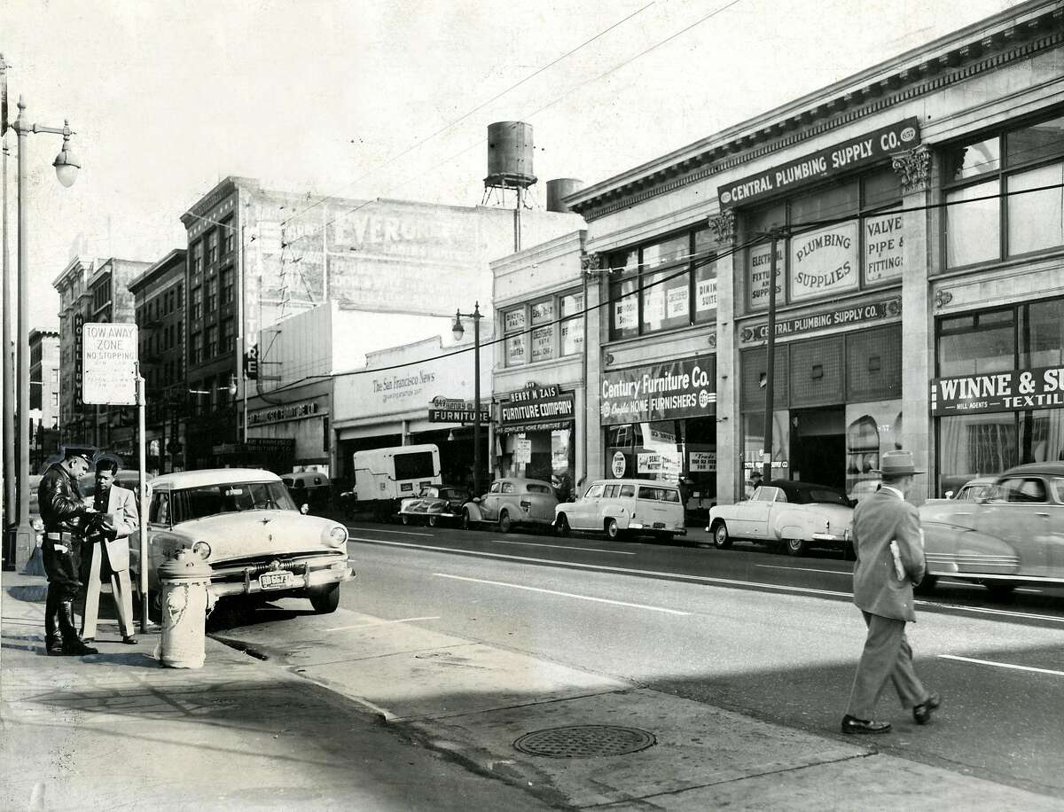 Jaywalkers are nothing new. Here's one on S.F.'s Mission Street in 1959.