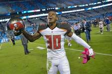 CHARLOTTE, NC - OCTOBER 10:  Bradley McDougald #30 of the Tampa Bay Buccaneers celebrates after a win against the Carolina Panthers at Bank of America Stadium on October 10, 2016 in Charlotte, North Carolina. The Buccaneers won 17-14.  (Photo by Grant Halverson/Getty Images)
