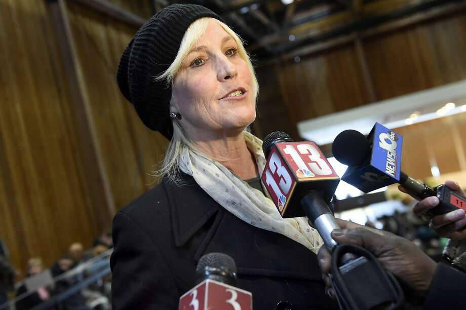 Environmental activist Erin Brockovich speaks with the media before leading a community meeting addressing the PFOA groundwater contamination in the village and wells in the Town of Hoosick on Saturday, Jan. 30, 2016, at Bennington College in Bennington, Vt. (Cindy Schultz / Times Union) Photo: Cindy Schultz, Albany Times Union