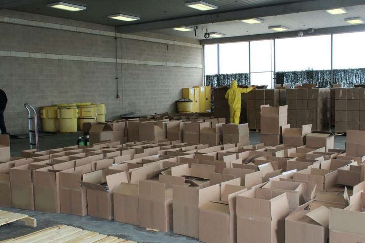 Boxes of cleaning solution containing a total 615 pounds of methamphetamine seized by U.S. Customs and Border Protection officers at Pharr International Bridge.