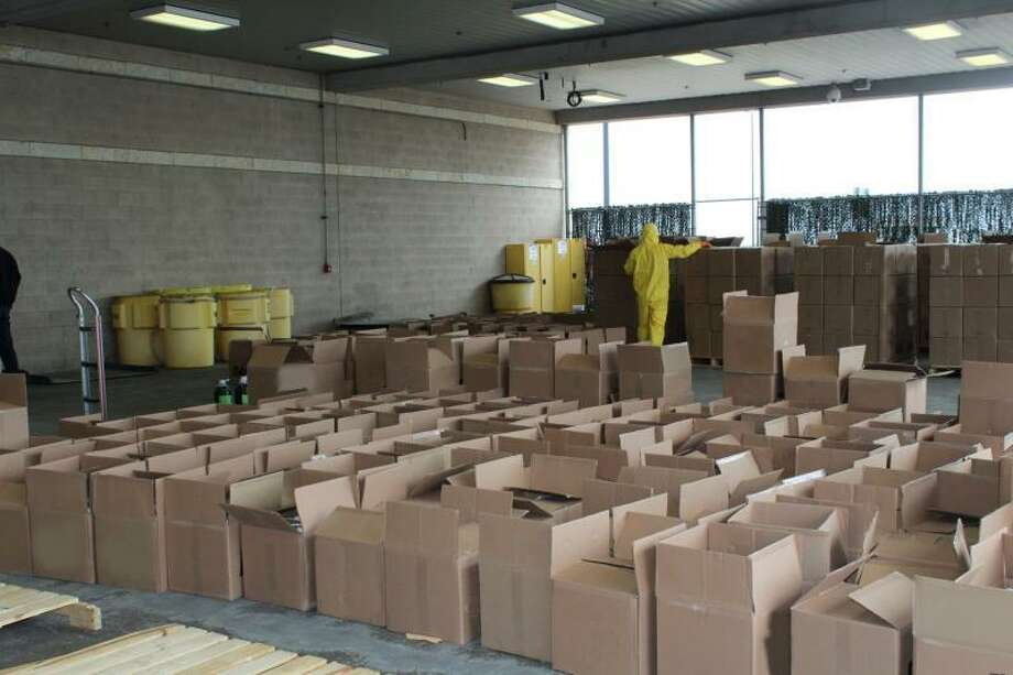 Boxes of cleaning solution containing a total 615 pounds of methamphetamine seized by U.S. Customs and Border Protection officers at Pharr International Bridge. Photo: Courtesy /U.S. Customs And Border Protection