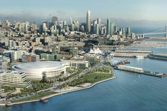 This is an artist's rendering of the Chase Center, the future home of the Warriors that is scheduled to open in 2019.