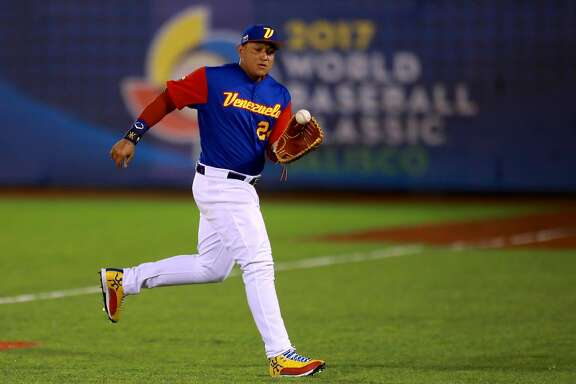 ZAPOPAN, MEXICO - MARCH 12: Miguel Cabrera #24 of Venezuela makes a play in the top of the first inning during the World Baseball Classic Pool D Game 6 between Mexico v Venezuela at Panamericano Stadium on March 12, 2017 in Zapopan, Mexico. (Photo by Miguel Tovar/Getty Images)