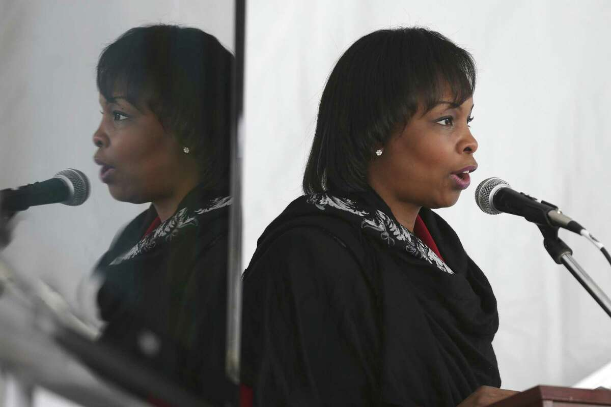 Mayor Ivy Taylor speaks during the Choose San Antonio event at South by Southwest Conference and Festival in Austin, Sunday, March 12, 2017. The nonprofit turned the Half Step Bar on Rainey Street into Casa San Antonio in an effort to lure hipsters and techies to San Antonio.