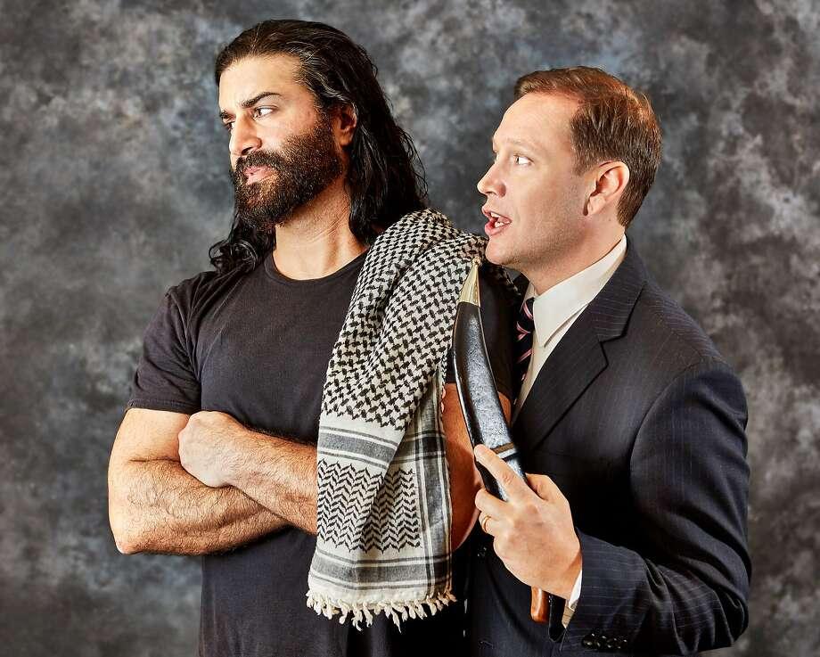 "From left: Tarek Caan and Christian Haines in Arabian Shakespeare Festival's ""Jihad Jones and the Kalashnikov Babes."" Photo: Gregg LeBlanc, Arabian Shakespeare Festival"