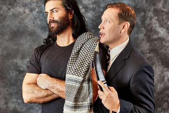 "From left: Tarek Caan and Christian Haines in Arabian Shakespeare Festival's ""Jihad Jones and the Kalashnikov Babes."""
