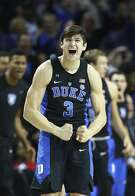 Duke: NEW YORK, NY - MARCH 10: Grayson Allen #3 of the Duke Blue Devils reacts after Luke Kennard #5 hit a three point shot against the North Carolina Tar Heels during the Semi Finals of the ACC Basketball Tournament at the Barclays Center on March 10, 2017 in New York City. (Photo by Al Bello/Getty Images)