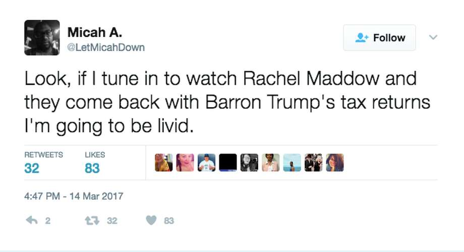 BEFORE the revealTwitter reacted immediately when Rachel Maddow announced she had President Trump's tax returns. Photo: Screenshot Via Twitter