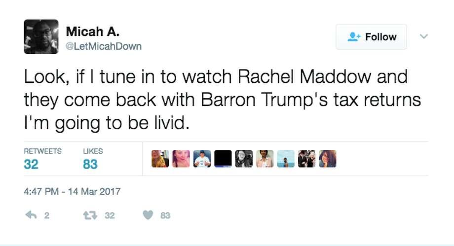 BEFORE the revealTwitter reacted immediately when Rachel Maddow announced she had President Trump's tax returns. Photo: Screenshot Via Twitter