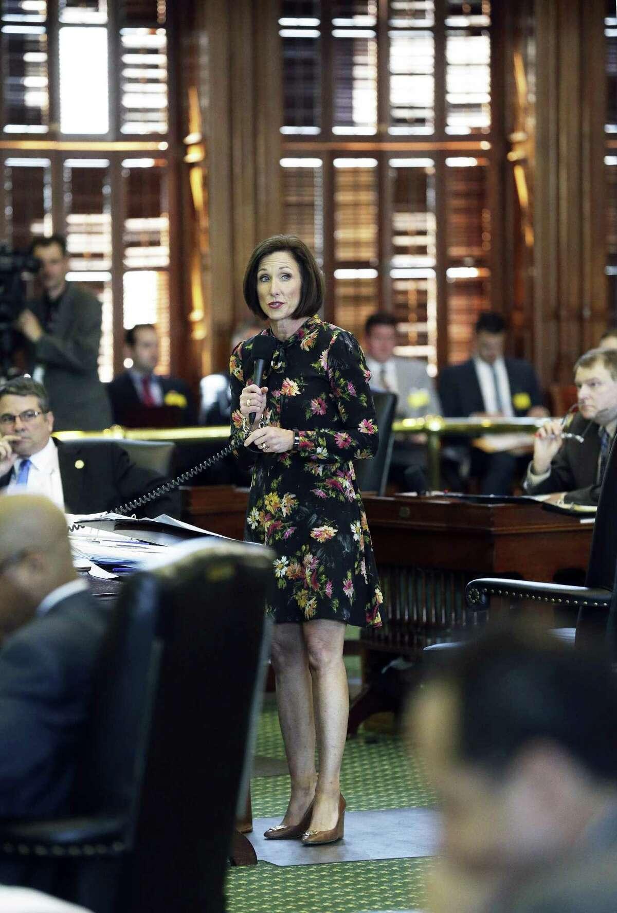 Senator Lois Kolkhorst introduces her legislation, the so called bathroom bill, on the floor of the Senate on March 14, 2017.