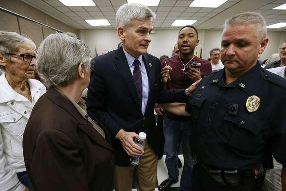 THIBODAUX, LA - FEBRUARY 23: Sen. Bill Cassidy (R-LA) leaves after a town hall meeting on February 23, 2017 in Thibodaux, Louisiana. Cassidy spoke on a wide range of issues including healthcare, jobs and government spending.  (Photo by Jonathan Bachman/Getty Images)