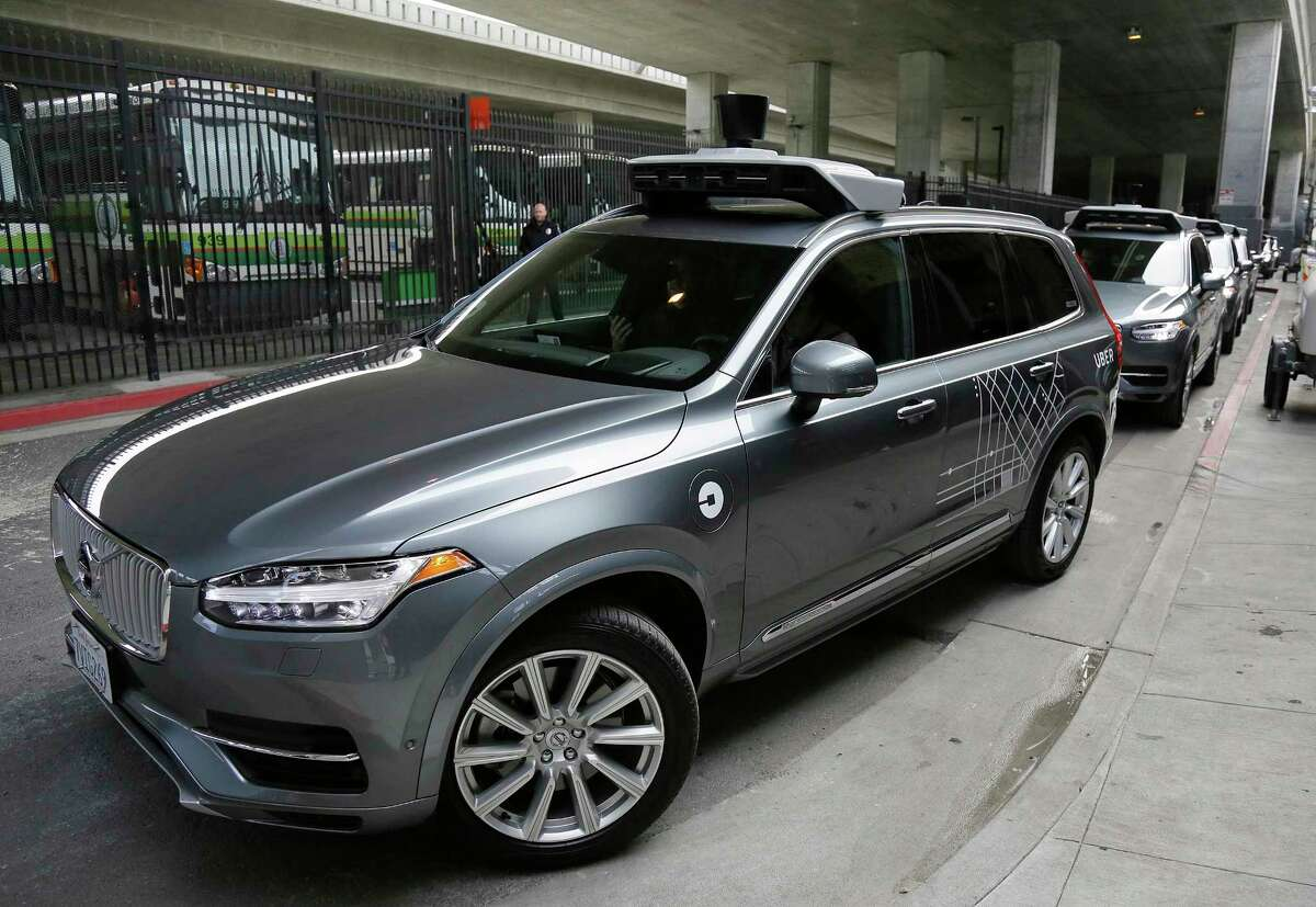 A self-driving Volvo Uber heads out for a test drive. Uber and Volvo signed a deal for Volvo to provide SUVs to Uber for autonomous vehicle research.