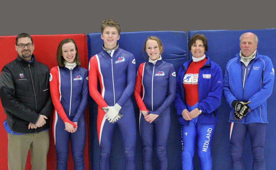 Photo provided by Lynn Schiel Midland Speed Skating Club head coach Joe Rohraff, far left, is pictured with (from left) Grace Trosin, Adam Hancock, Ella Trosin, Cilla Jones and Dick Smith, who will all compete in the U.S. Speedskating Age Class Nationals this weekend at the Midland Civic Arena. Not pictured is Kevin Geminder, who will compete in American Cup 3, also at the Midland Civic Arena.