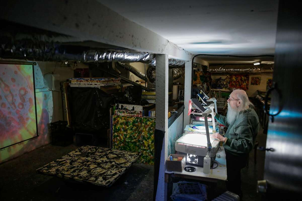 Artist Bill Ham demonstrates his light projection paintings at his studio in San Francisco.