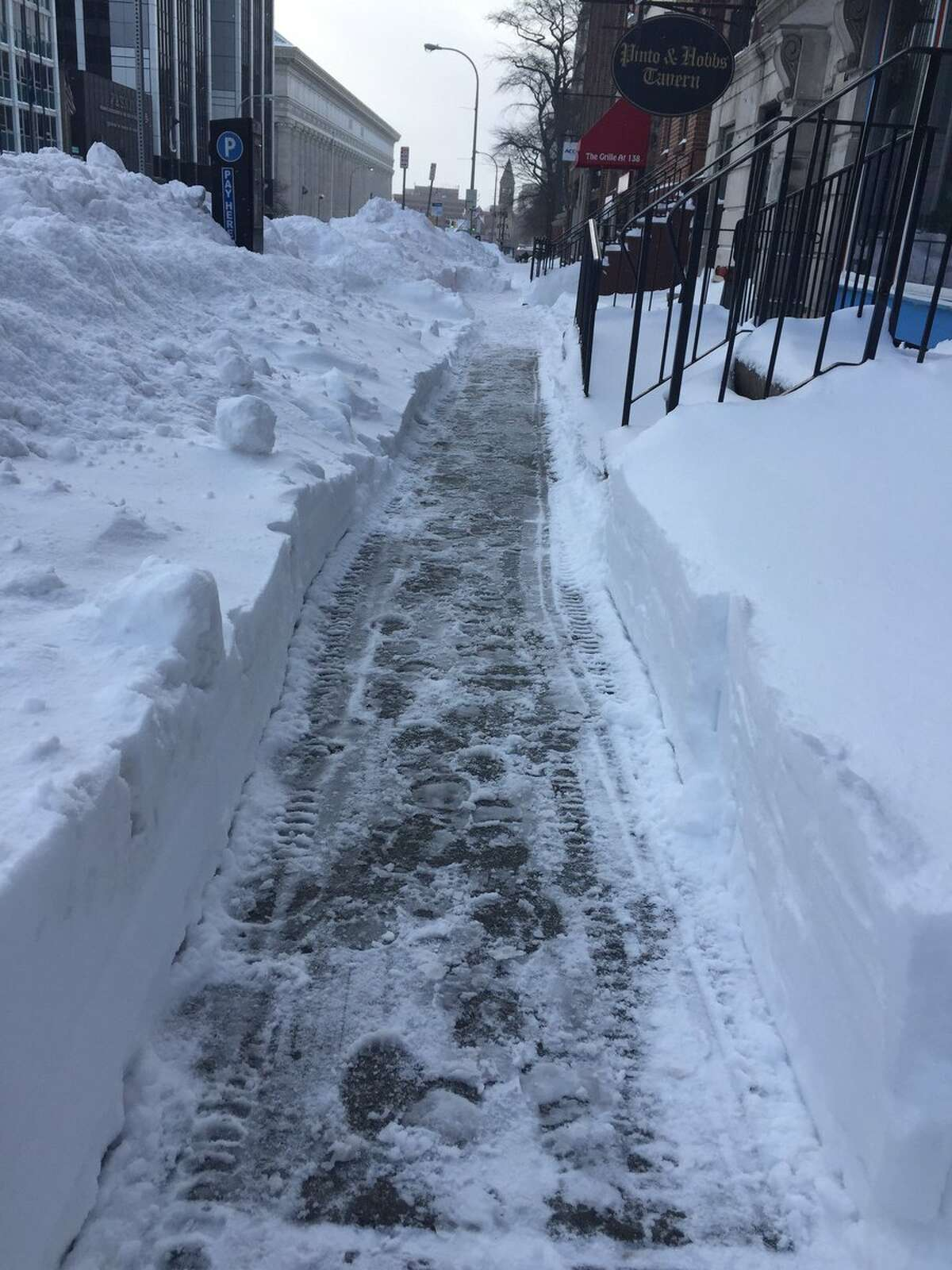 Some cleared sidewalks on Washington Avenue in Albany on Wednesday, March 15, 2017. (Amanda Fries/Times Union)