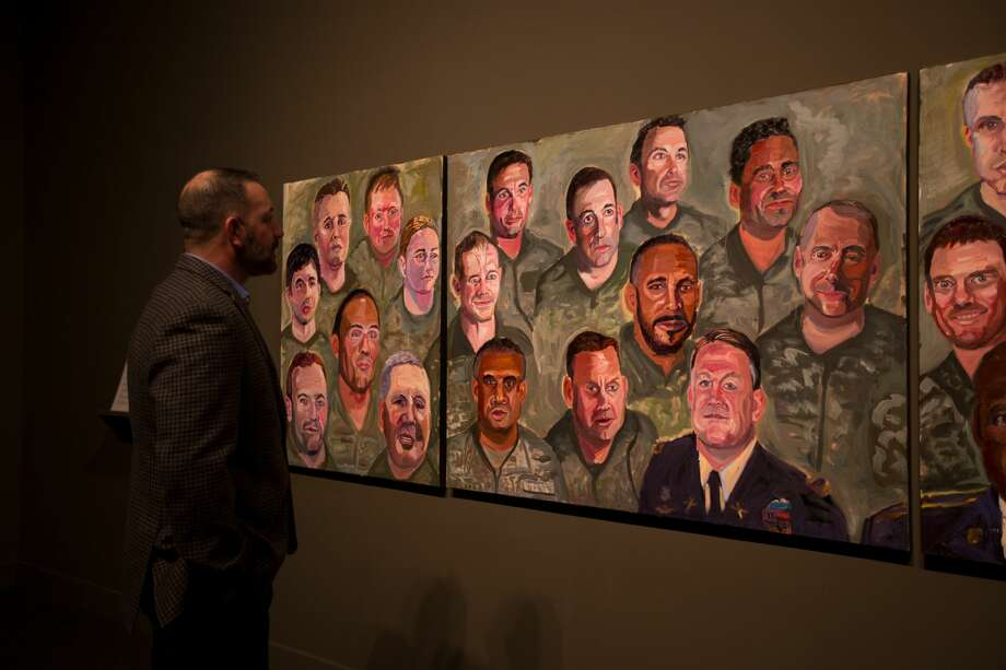 "Former President George W. Bush has been on a whirlwind promotional tour talking about his latest book ""Portraits of Courage: A Commander in Chief's Tribute to America's Warriors"" which features 66 oil paintings and stories by Bush honoring military veterans. Those paintings of some of America's war heroes can be seen at an exhibit at the George W. Bush Presidential Center on the SMU campus in Dallas from now until October 1, 2017. Photo: Andrew Kaufmann, George W. Bush Presidential Center"
