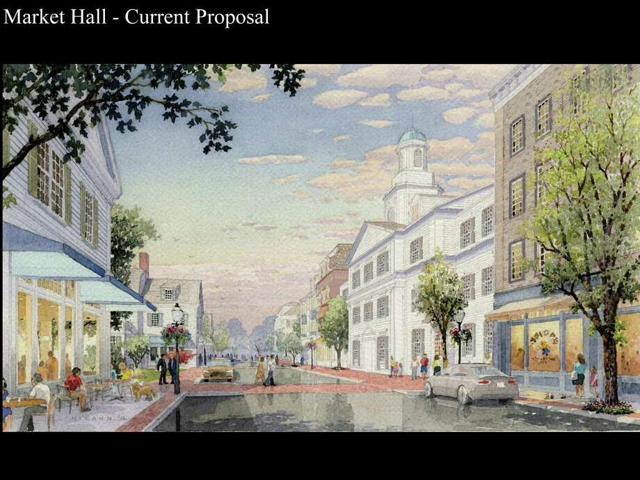 A rendering of the proposed Market Hall by Baywater Associates, presented to the Planning and Zoning Commission on Tuesday, Jan. 10, 2017. Photo: Darien News/Contributed / Contributed Photo / Darien News