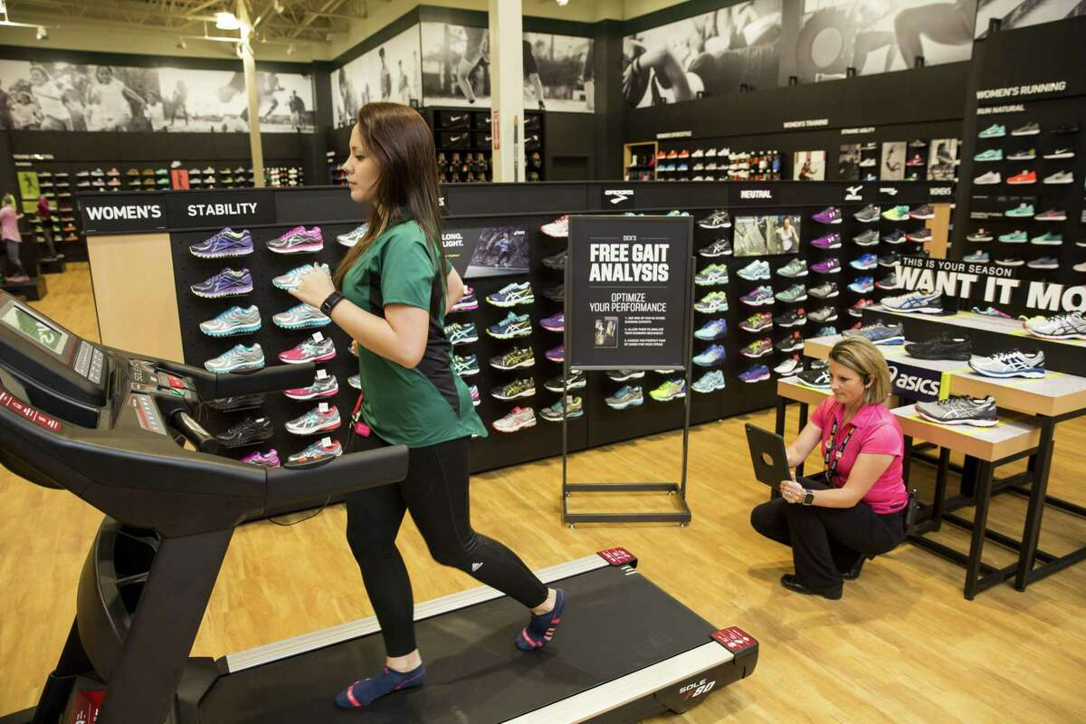 A file photo of the extensive shoe department at Dick's Sporting Goods in the Houston area. On Wednesday, March 15, 2017, Dick's debuted in Norwalk, Conn. after taking over the former Sports Authority store at 444 Connecticut Ave.