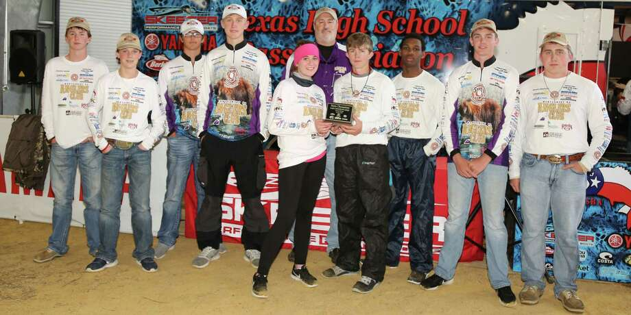 Montgomery High School Bass Club finished First Place on Lake Houston:(left to right) Clayton Smith, Tanner Poole, Trey Dawson, Derek Pietsch, Casey Krow, Dylan Winders, Zach Thompson, Mason Hoke, Weston Stephens. Mr. Hooker is in back in purple shirt. Photo: Debbie Pietsch