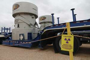 Waste Control Specialists near Andrews, Texas, has two Robatel RT-100 radioactive transport casks. These casks are used to transport Class B and C radioactive waste. WCS provides services to store low-level nuclear waste and is in applying for a license to be an interim storage facility for high-level radioactive waste.