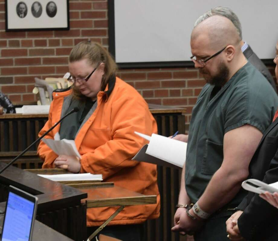 Michael and Jeanne Mosher are sentenced to 40 years in prison for predatory sex assault on Wednesday, March 16, 2017, in Saratoga County Court in Ballston Spa, NY. (Skip Dickstein/Times Union) Photo: Skip Dickstein/Times Union