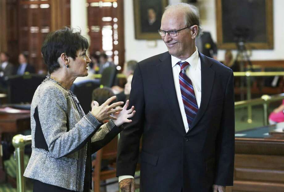 "Sen. Donna Campbell chats with Bexar County Judge Nelson Wolff. ""Keep driving a little further,"" Wolff said of the measure. Photo: Tom Reel / San Antonio Express-News / 2017 SAN ANTONIO EXPRESS-NEWS"
