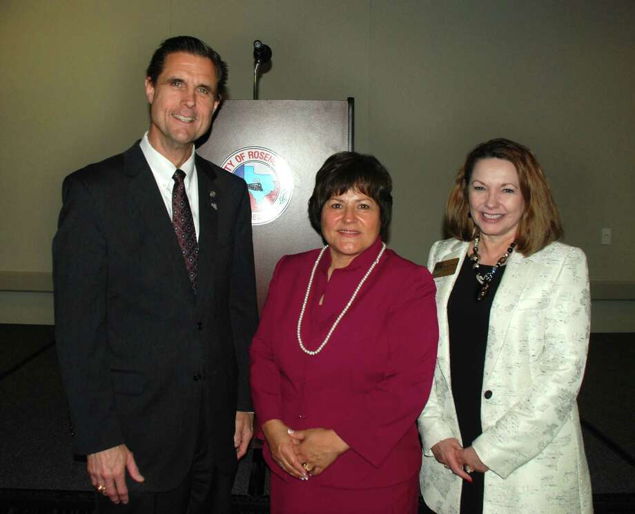 Rosenberg Mayor Cynthia McConathy presented the state of the city address at a meeting of the Central Fort Bend Chamber. From left are Jim Russ, EHRA Engineering, McConathy and Regina Morales, Central Fort Bend Chamber Photo: Central Fort Bend Chamber