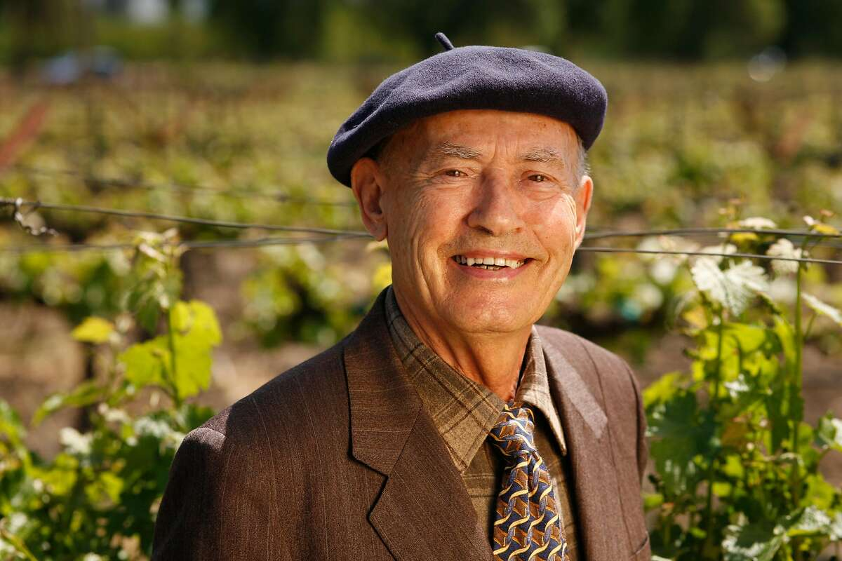 GRGICH18_116_cl.JPG Story profile of Mike Grgich, owner and winemaker of Grgich Hills Cellar. Photo of Mike out in his vineyards. Mike is 84 years-old and one of his favorite things to do at the winery now is to meet the Wine Train when it arrives, usually at 1 p.m. The winery will be celebrating it's 30th anniversary this year in July. Event on 4/26/07 in Napa. photo by Craig Lee / The Chronicle Ran on: 05-06-2007 Ran on: 05-09-2007 Ran on: 05-11-2007 Mike Grgich (above right) breaks ground for Grgich Hills Cellar in 1977 with partner Austin Hills. Grgich still has the shirt. Left, Grgich stands in front of his vineyards in Rutherford.