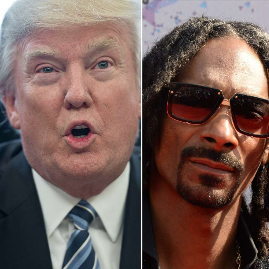 President Trump took to Twitter on Wednesday to criticize Snoop Dogg's new music video in which the West Coast rapper fires a prank gun at a clown resembling Trump. Photo: Nicholas Kamm / Getty Images, Robyn Beck / AFP / Getty Images / /