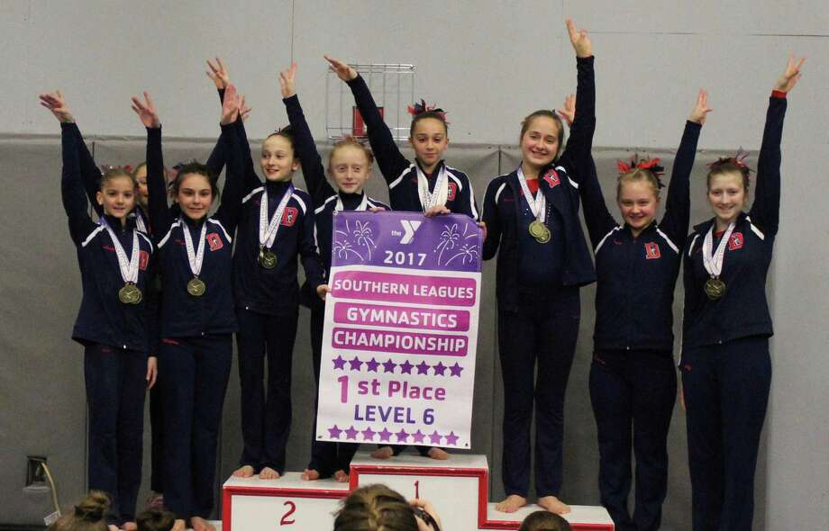 Southern Leagues Sweep x2: in on the team championship sweep, the Darien YMCA Level 6 squad also swept the AA titles for the level with Anna Moss, Lucy Collins, Kerry McDermott and Lily Fairleigh winning the age groups. Photo: Contributed Photo / Darien News contributed