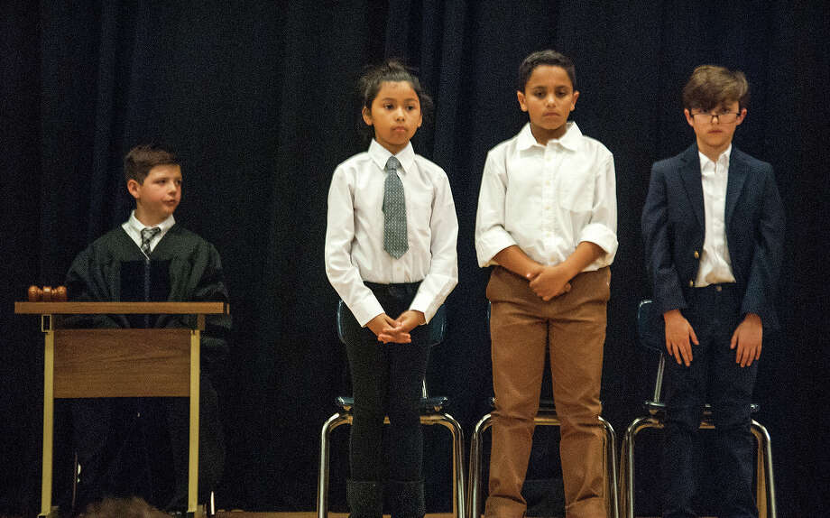 Fourth-grade students at Woodland Elementary School recreate the Dred Scott case, which was tried in St. Louis in 1857. Photo: Zachary Foote • Intelligencer