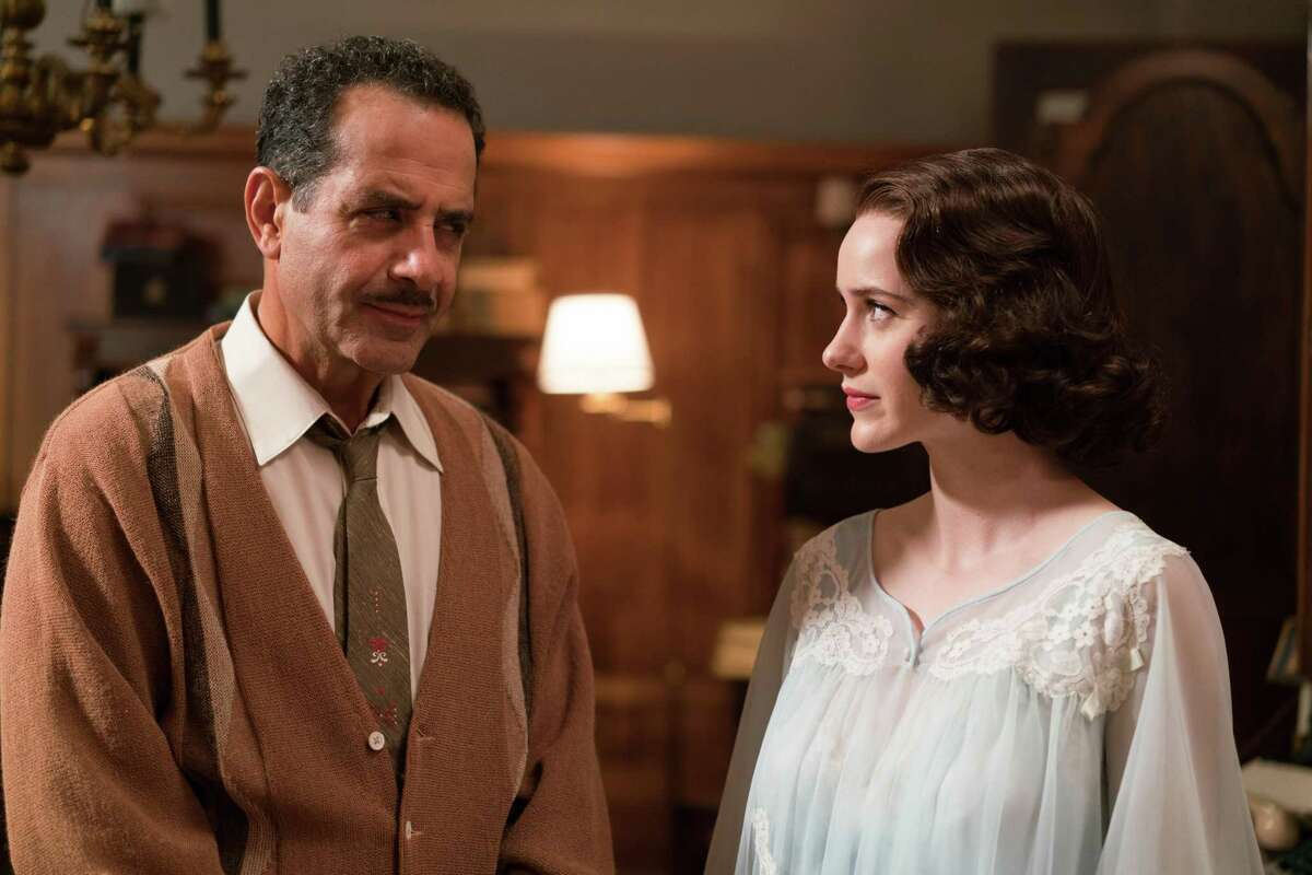 """Rachel Brosnahan stars in """"The Marvelous Mrs. Maisel,"""" with Tony Shalhoub playing her father."""