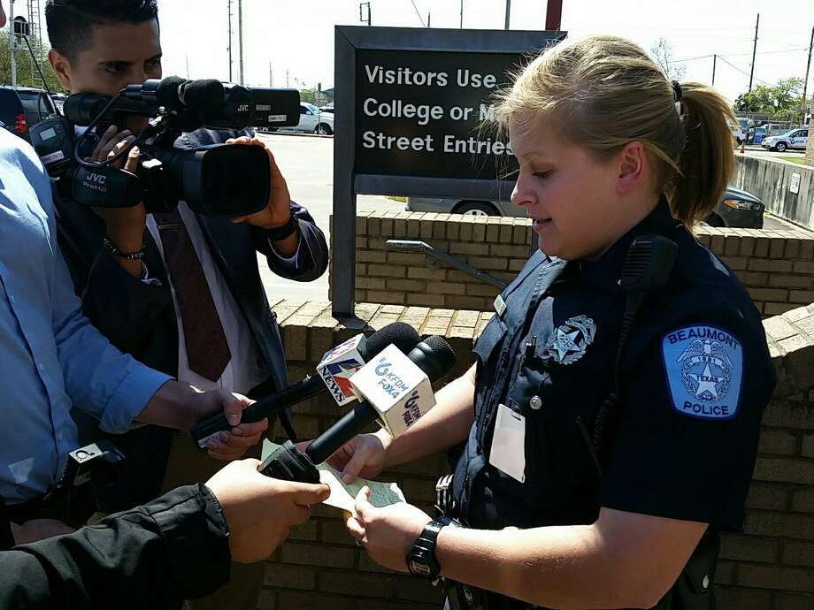 Beaumont Police Department Officer Haley Morrow speaks to media on Wednesday, March 15, 2017.