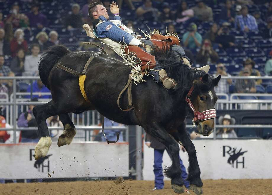 Richie Champion rides bareback during the Houston Livestock Show and Rodeo at NRG Stadium this March.