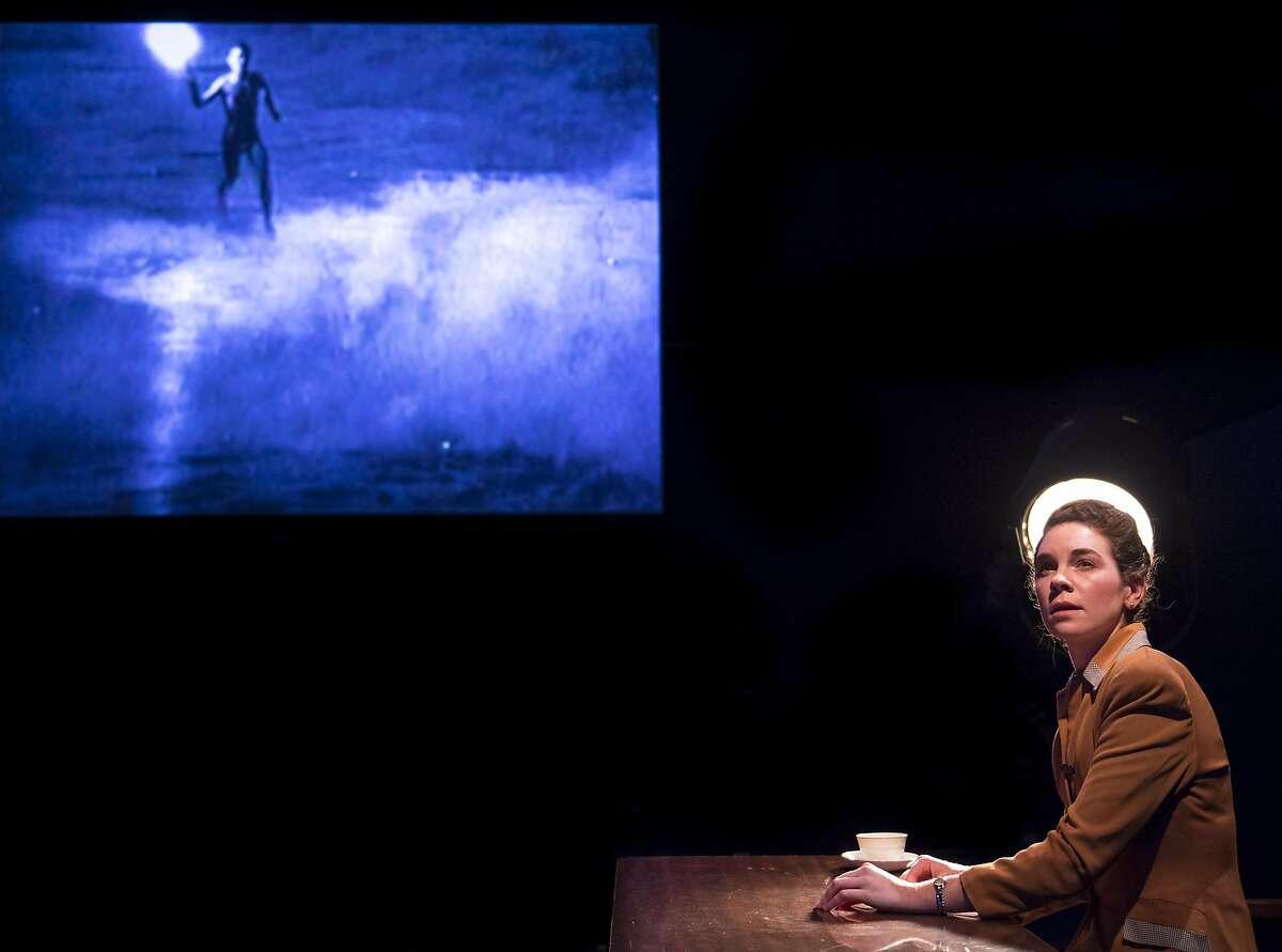 "A young Leni Riefenstahl (Martha Brigham) ponders her artistic life in Aurora Theatre Company�s ""Leni."""