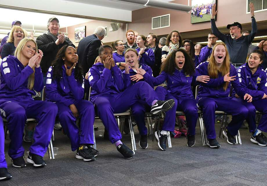 University at Albany women react as they find out they will be competing against Connecticut in the NCAA Tournament during a viewing party in the Hall of Fame room at SEFCU Arena on Monday, March 13, 2017 in Albany, N.Y. UConn as has won 107 consecutive games and is the No. 1 seed. (Lori Van Buren / Times Union) Photo: Lori Van Buren / 20039942A