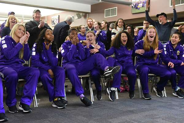 University at Albany women react as they find out they will be competing against Connecticut in the NCAA Tournament during a viewing party in the Hall of Fame room at SEFCU Arena on Monday, March 13, 2017 in Albany, N.Y. UConn as has won 107 consecutive games and is the No. 1 seed. (Lori Van Buren / Times Union)