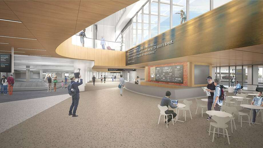 A rendering showing the conceptual design for the baggage claim area at Terminal 1 of San Francisco International Airport. The terminal will be rebuilt �in stages that are due to be completed by the end of 2022. Photo: Gensler, Kuth Ranieri