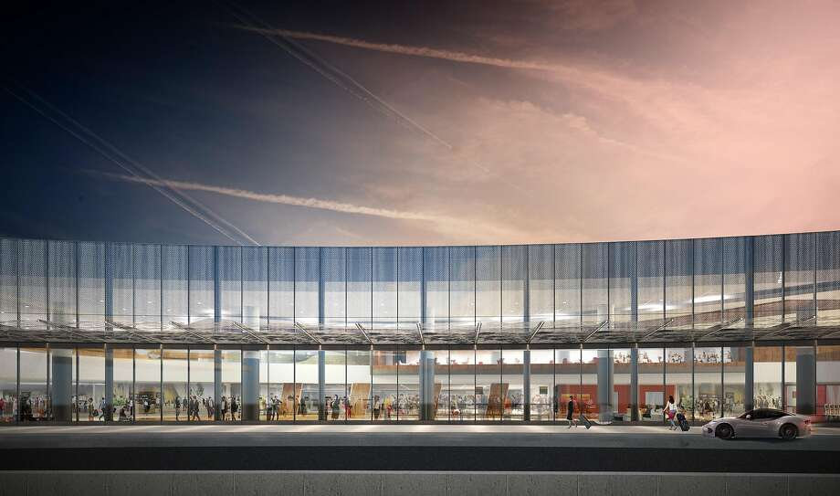 A rendering of the new front facade of Terminal 1 of San Francisco International Airport. The terminal will be rebuilt �in stages that are due to be completed by the end of 2022. Photo: Gensler, Kuth Ranieri