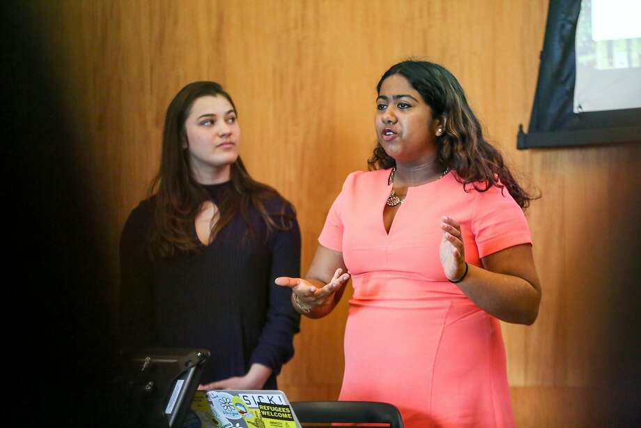 Aisha Srinivasa (right) and Dominiqu Lewis of the Egypt Project present their research at UC Berkeley School of Law's Human Rights Investigations Lab on Wednesday, March 14, 2017 in Berkeley, Calif. below Students listen as teams present their research at UC Berkeley School of Law's Human Rights Investigations Lab on Wednesday, March 14, 2017 in Berkeley, Calif. Photo: Amy Osborne, Special To The Chronicle