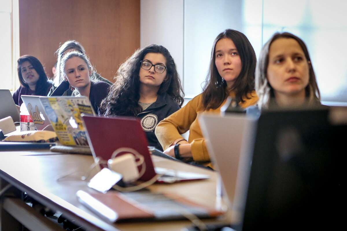 Students listen as teams present their research at UC Berkeley School of Law's Human Rights Investigations Lab on Wednesday, March 14, 2017 in Berkeley, Calif.
