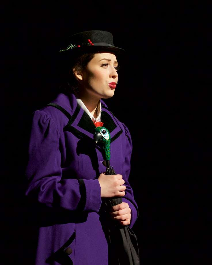 """Mary Poppins (Cassie Bielmeier) sings """"A Spoonful of Sugar"""" in the New Milford High School All School Musical (Disney and Cameron Mackintosh's) """"Mary Poppins"""". Performances are this weekend (March 17, 18, & 19) and next weekend (March 24 & 25) for info or to make reservations call 860-350-6647 ext. 1552 Photo: Trish Haldin / The News-Times Freelance"""