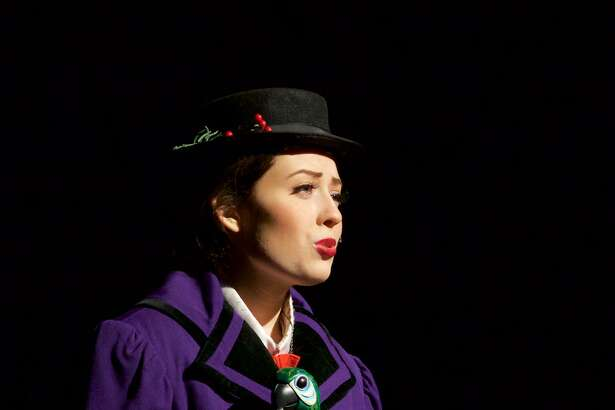 """Mary Poppins (Cassie Bielmeier) sings """"A Spoonful of Sugar"""" in the New Milford High School All School Musical (Disney and Cameron Mackintosh's) """"Mary Poppins"""". Performances are this weekend (March 17, 18, & 19) and next weekend (March 24 & 25) for info or to make reservations call 860-350-6647 ext. 1552"""