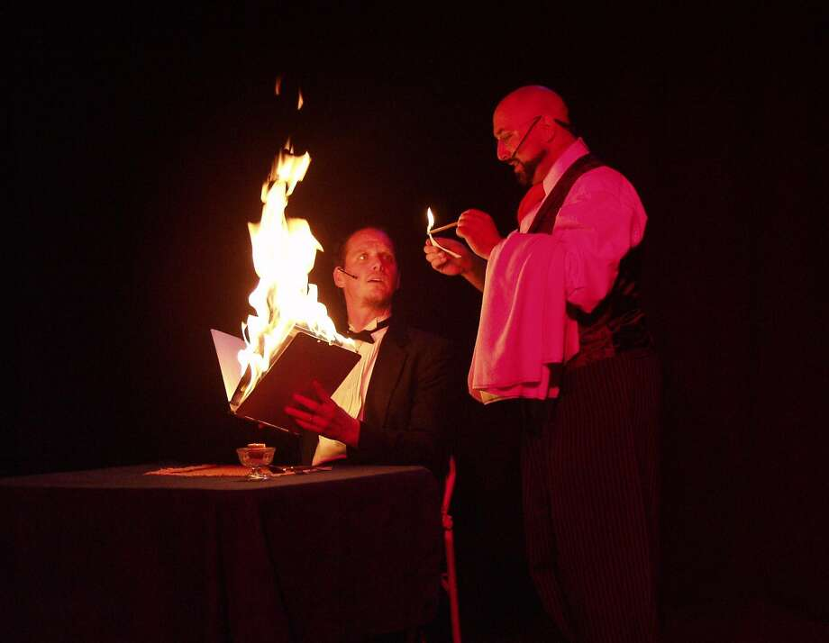 "Frank Olivier with assistant Paul Nathan in ""Cafe du Flambe."" Photo: Roger Mulkey, Twisted Cabaret"