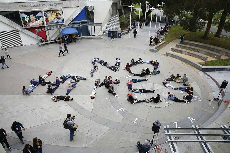 Students spell out No Hikes during an anti tuition increase demonstration at San Francisco State University on Wednesday, March 15, 2017 in San Francisco, Calif. Photo: Lea Suzuki, The Chronicle