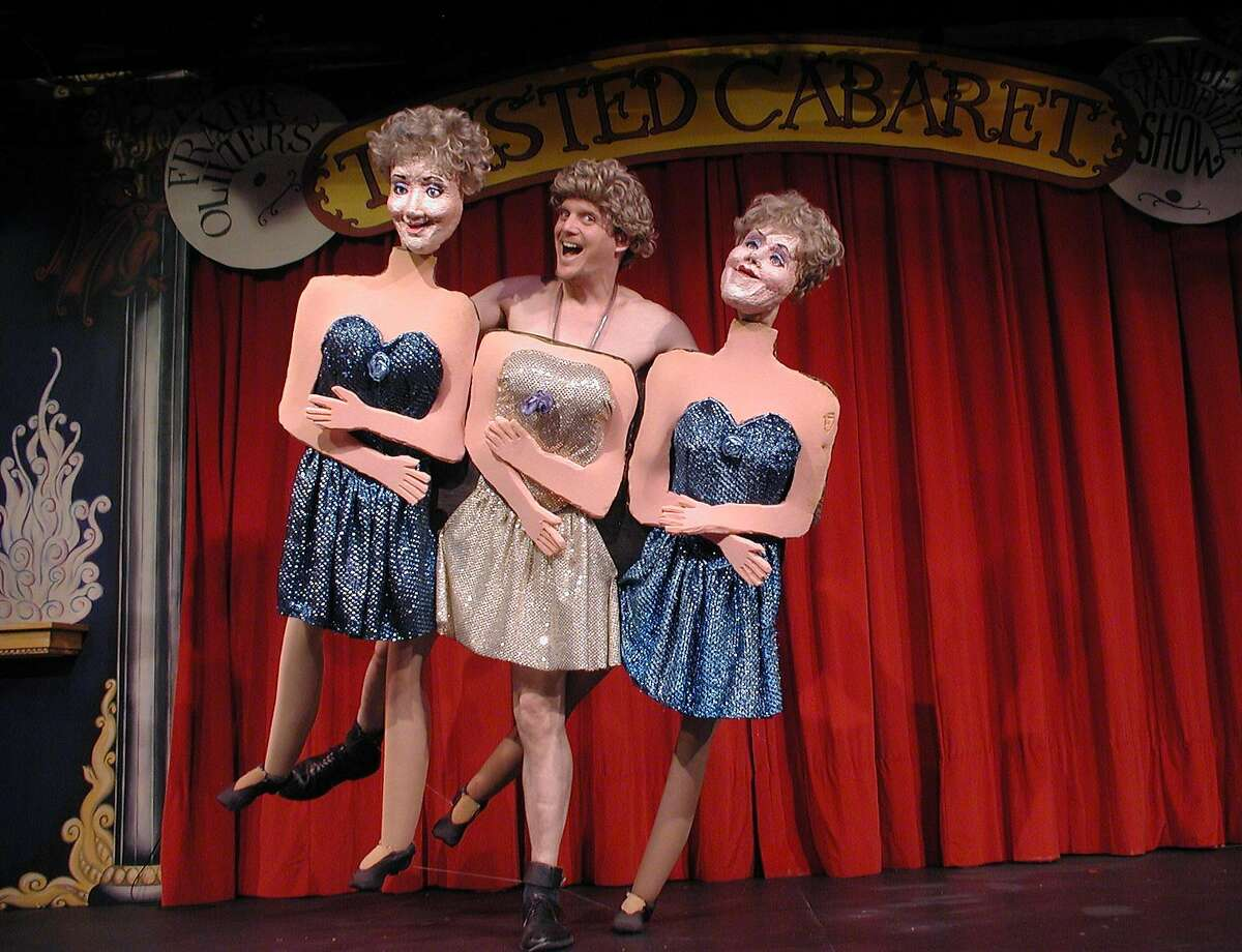 """Frank Olivier and his dancing girls in """"Twisted Cabaret."""""""