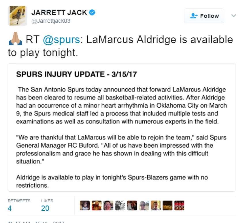 Former Portland teammate Jarrett Jack reacts to LaMarcus Aldridge's return.